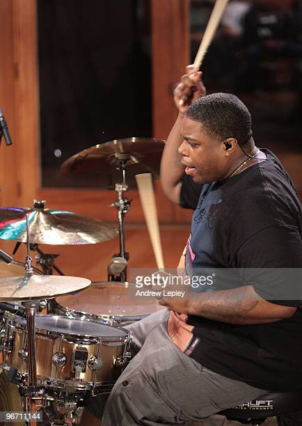 Drummer Aaron Spears plays wearing inear earphones during the taping of his instructional DVD 'Beyond The Chops' on May 28th 2009 in Englewood New...