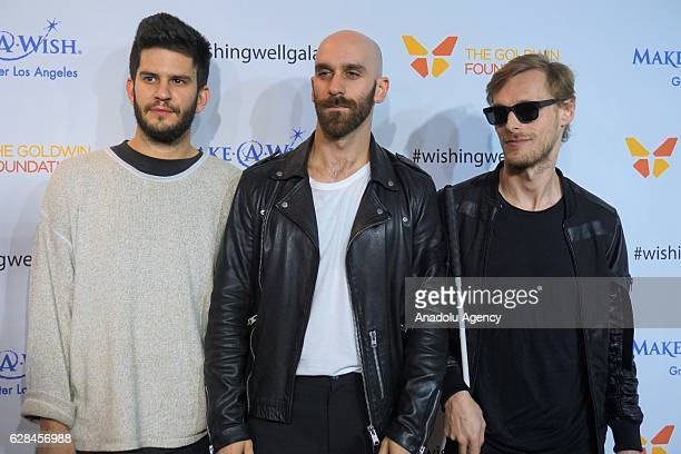 Drummer Adam Levin singer Sam Harris and keyboardist Casey Harris of the X Ambassadors attend the 4th Annual Wishing Well Winter Gala at Hollywood...