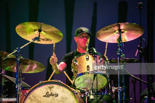 Drummer Adam Pfahler of Jawbreaker performs live on stage during Upstream Music Festival in Pioneer Square on June 2 2018 in Seattle Washington