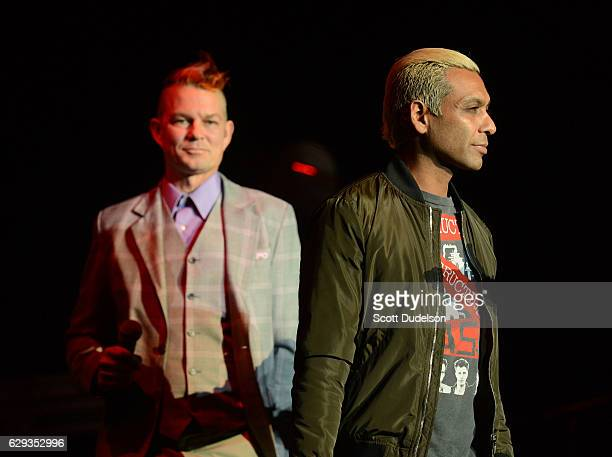 Drummer Adrian Young and bass player Tony Kanal of the band No Doubt of KROQ appear onstage during KROQ's Almost Acoustic Christmas at The Forum on...