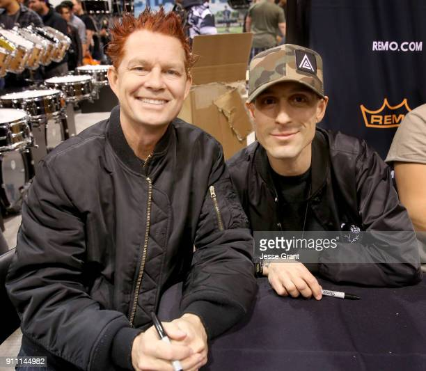 Drummer Adrian Young and drummer Frank Zummo at The 2018 NAMM Show at Anaheim Convention Center on January 27 2018 in Anaheim California
