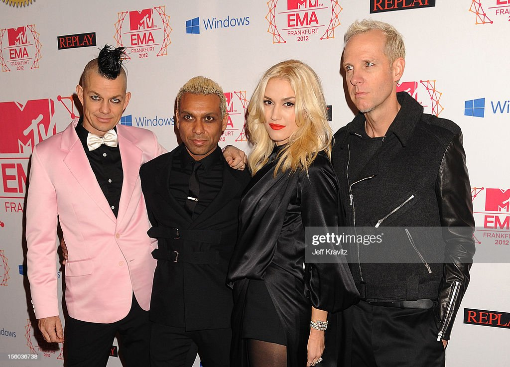 Drummer Adrian Young, Bassist Tony Kanal, singer Gwen Stefani and guitarist Tom Dumont of No Doubt attend the MTV EMA's 2012 at Festhalle Frankfurt on November 11, 2012 in Frankfurt am Main, Germany.
