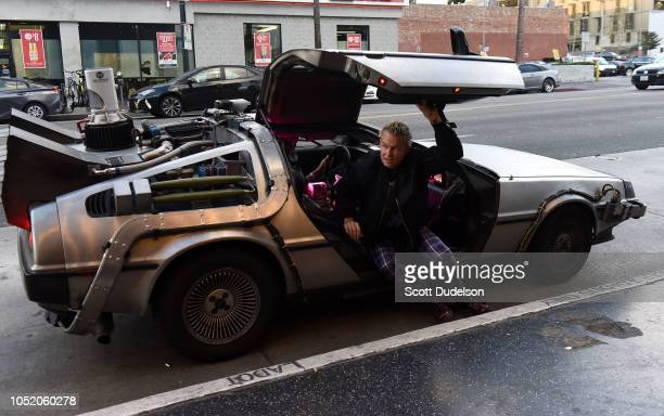Drummer Adrian Young founding member of No Doubt arrives at the Strange 80's concert in a replica 'Back to the Future' DeLorean at The Fonda Theatre...