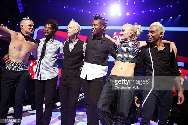 Drummer Adrian Young musician Stephen Bradley guitarist Tom Dumont musician Gabrial McNair singer Gwen Stefani and bassist Tony Kanal of No Doubt...