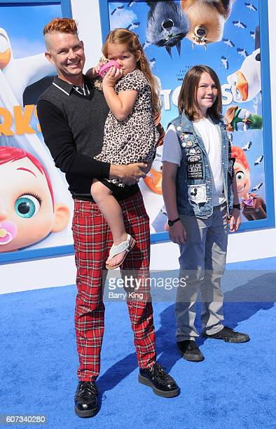 Drummer Adrian Young of No Doubt and daughter Magnolia Renee Young and son Mason James Young attend the premiere of Warner Bros Pictures' 'Storks' at...