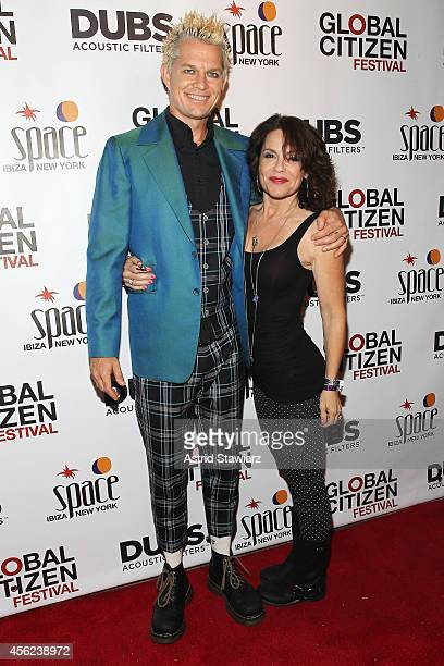 Drummer Adrian Young of No Doubt and Nina Young attend the Global Citizen Festival official after party at Space Ibiza NY on September 27 2014 in New...
