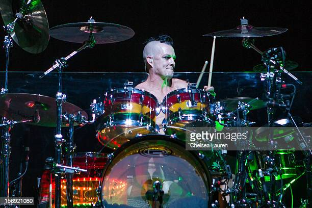 Drummer Adrian Young of No Doubt performs at Gibson Amphitheatre on November 24 2012 in Universal City California