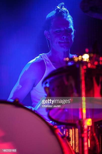 Drummer Adrian Young of No Doubt performs at Street Drum Corps' 'Lost Vegas' show at Hard Rock Hotel and Casino on January 26 2013 in Las Vegas Nevada