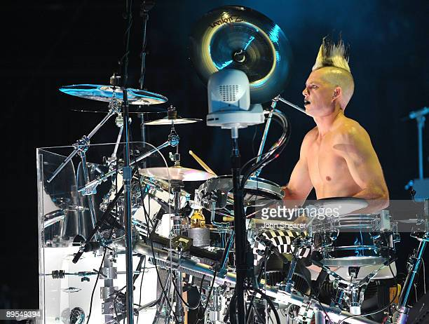 Drummer Adrian Young of No Doubt performs at Verizon Wireless Amphitheater on July 31 2009 in Irvine California