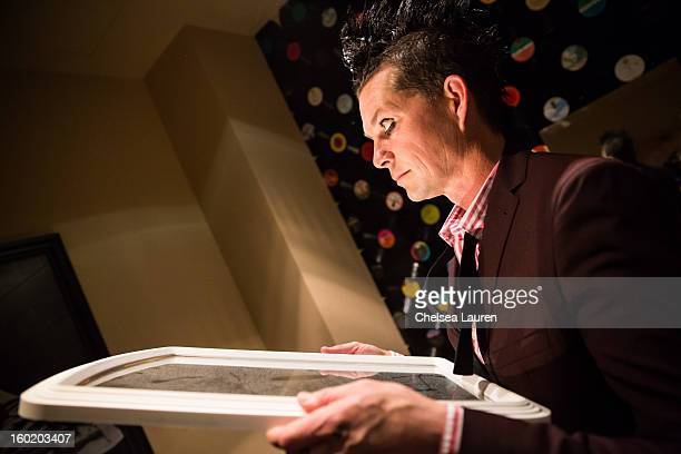 Drummer Adrian Young of No Doubt poses backstage at Street Drum Corps' 'Lost Vegas' show at Hard Rock Hotel and Casino on January 26 2013 in Las...