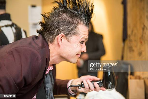 Drummer Adrian Young of No Doubt prepares backstage at Street Drum Corps' 'Lost Vegas' show at Hard Rock Hotel and Casino on January 26 2013 in Las...