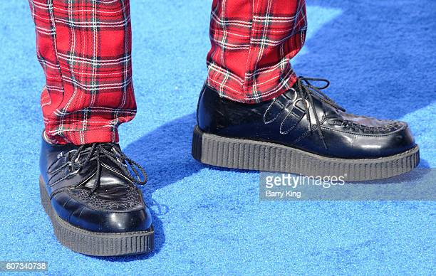 Drummer Adrian Young of No Doubt shoe detail attends the premiere of Warner Bros Pictures' 'Storks' at Regency Village Theatre on September 17 2016...