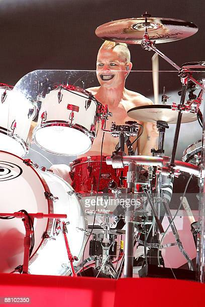 Drummer Adrian Young of the band No Doubt performs at the Cynthia Woods Mitchell Pavilion on May 31 2009 in The Woodlands Texas