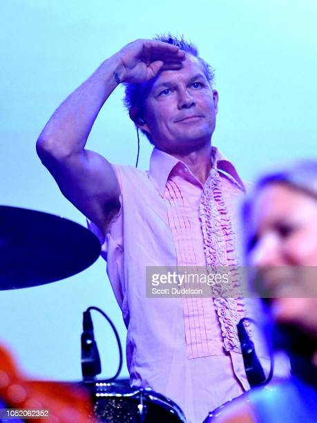 Drummer Adrian Young of the band No Doubt performs onstage during the Strange 80's concert at The Fonda Theatre on October 12 2018 in Los Angeles...