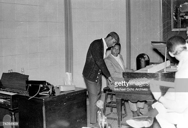 Drummer Al Jackson and band leader Booker T. Jones of the R&B band Booker T & The MG's record in the Stax Records studio in circa 1962 in Memphis,...