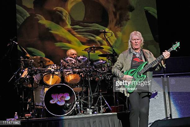 Drummer Alan White and Guitarist Chris Squires of Yes performs in the Tropicana Showroom at the Tropicana Casino on April 2 2011 in Atlantic City New...