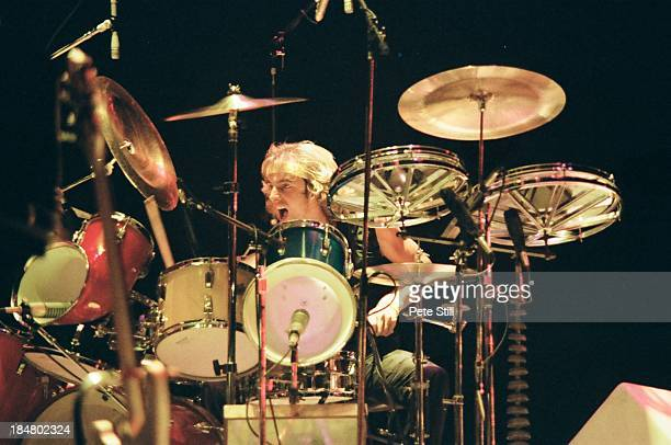 Drummer Alan White of Yes performs on stage at Wembley Arena on October 28th 1978 in London England