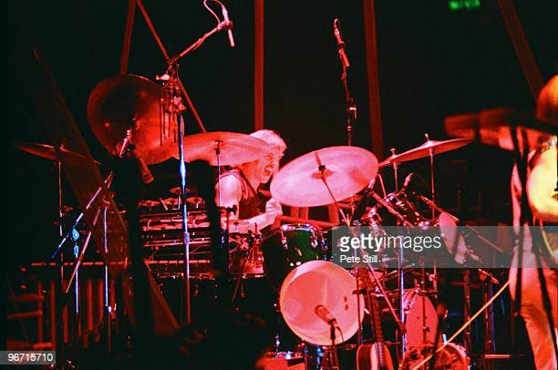 Drummer Alan White of Yes performs on stage on the 'Going For The One' tour at Wembley Arena on October 28th 1977 in London United Kingdom