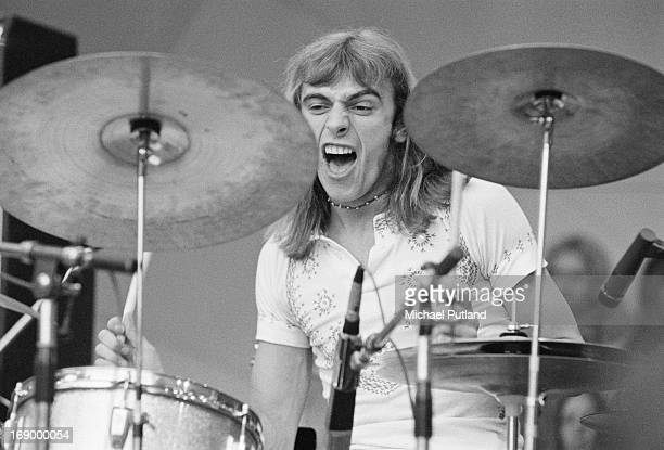 Drummer Alan White performing with English progressive rock group Yes at a Crystal Palace Garden Party event Crystal Palace Bowl London 2nd September...