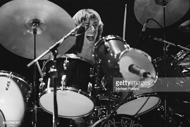 Drummer Alan White performing with English progressive rock group Yes at Madison Square Garden New York City September 1978 The band played four...
