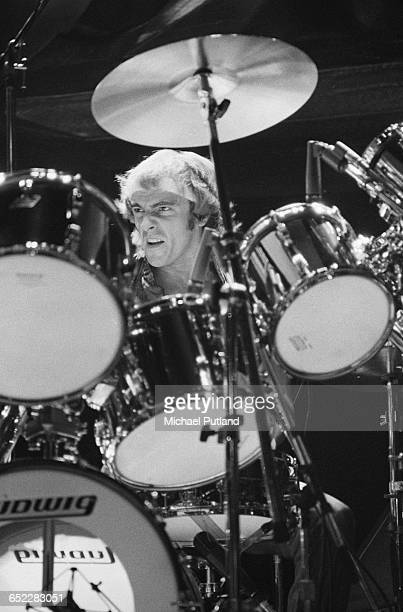 Drummer Alan White performing with English progressive rock group Yes November 1980