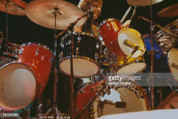 Drummer Alan White performs with English progressive rock group Yes at Madison Square Garden New York City September 1978 The band played four nights...
