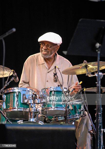 Drummer Albert 'Tootie' Heath performs with the Jimmy Heath Quartet at Lincoln Center Out of Doors at Damrosch Park Bandshell Lincoln Center New York...