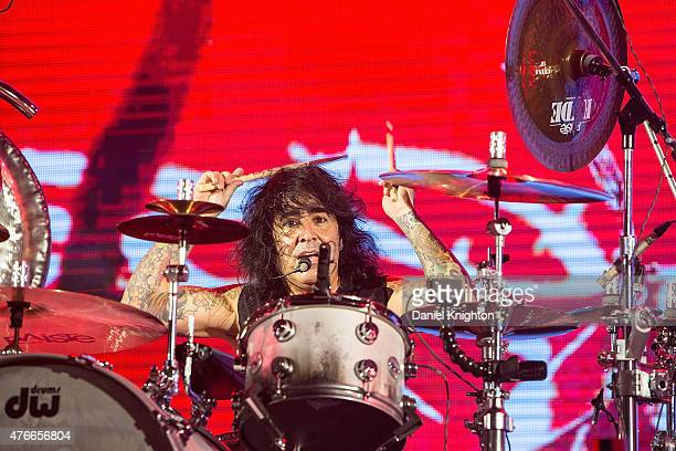 Drummer Alex Gonzalez of Mana performs on stage during opening night of their 'Cama Incendiada Tour' at Valley View Casino Center in San Diego CA on...