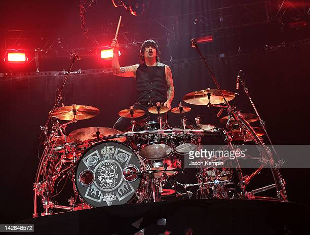 Drummer Alex Gonzalez of the band Mana performs at Madison Square Garden on April 10 2012 in New York City