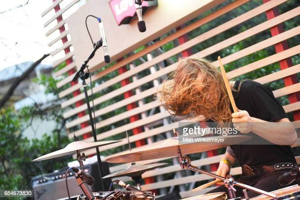 Drummer Alex Q Amini of The Mystery Lights performs during the Levis Outpost Rollingstone 2017 SXSW Conference and Festivals on March 17 2017 in...