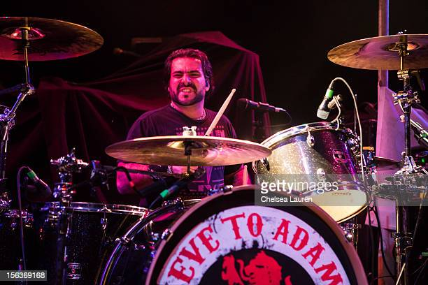 Drummer Alex Sassaris of Eve To Adam performs at House of Blues Sunset Strip on November 13 2012 in West Hollywood California