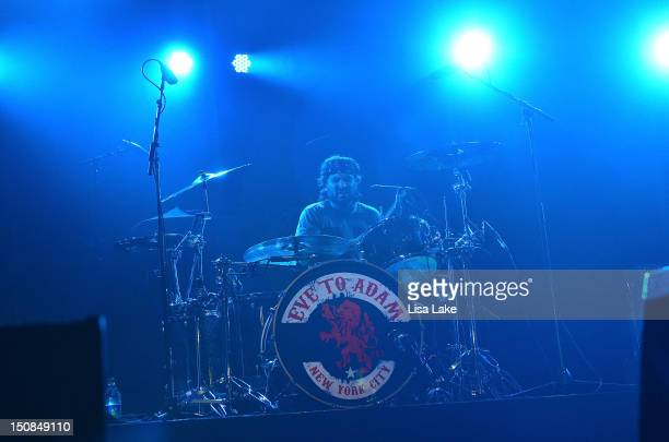 Drummer Alex Sassaris of the band Eve to Adam performs in concert at the Sands Event Center on August 27 2012 in Bethlehem Pennsylvania