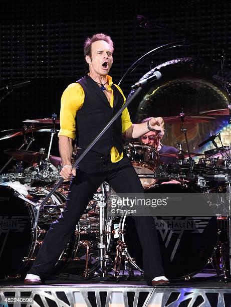 Drummer Alex Van Halen and David Lee Roth of Van Halen perform at Shoreline Amphitheatre on July 16 2015 in Mountain View California