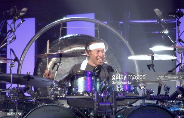 Drummer Alex Van Halen of the the hard rock group Van Halen is shown performing on stage during a live concert appearance on October 5 2007