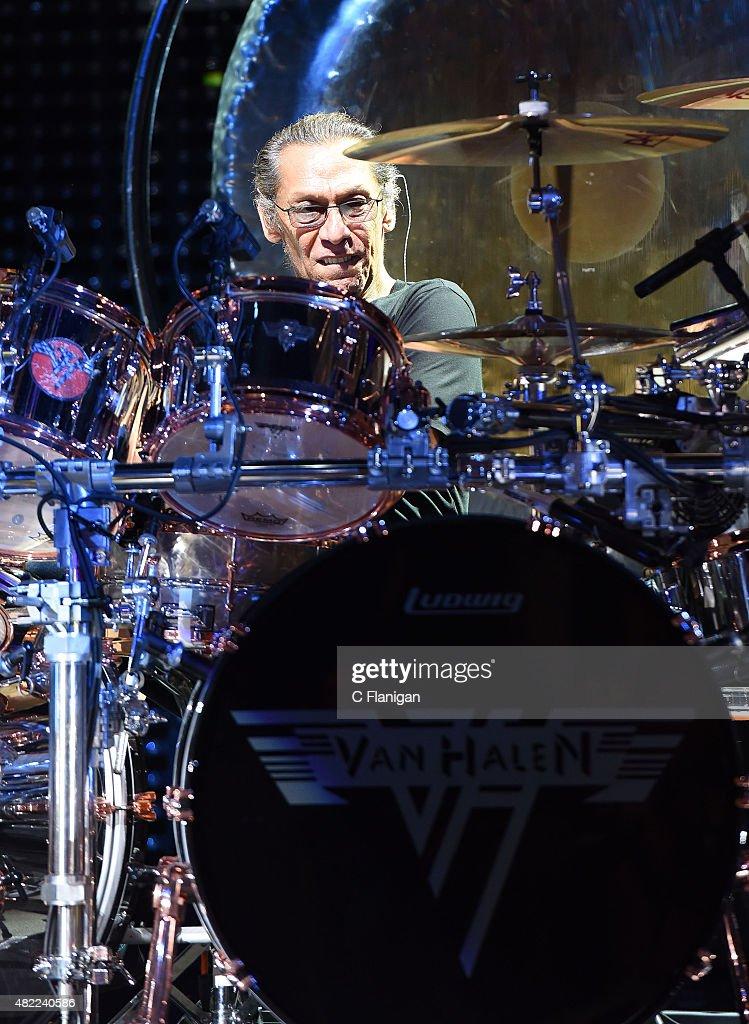 Drummer Alex Van Halen of Van Halen performs at Shoreline Amphitheatre on July 16, 2015 in Mountain View, California.