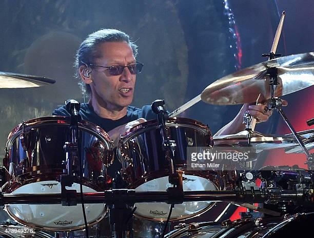 Drummer Alex Van Halen of Van Halen performs during the 2015 Billboard Music Awards at MGM Grand Garden Arena on May 17 2015 in Las Vegas Nevada