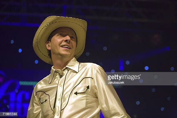 """Drummer and comedian Olli Dittrich of the German country band """"Texas Lightning"""" performs live during a concert at the Columbiahalle September 25,..."""