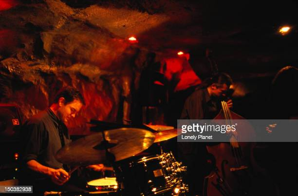 Drummer and double bassist playing at Bohemian Caves.