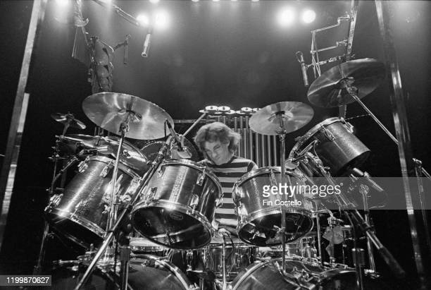Drummer and lyricist Neil Peart of Canadian progressive rock group Rush at his kit during a soundcheck at the De Montfort Hall Leicester 21st June...