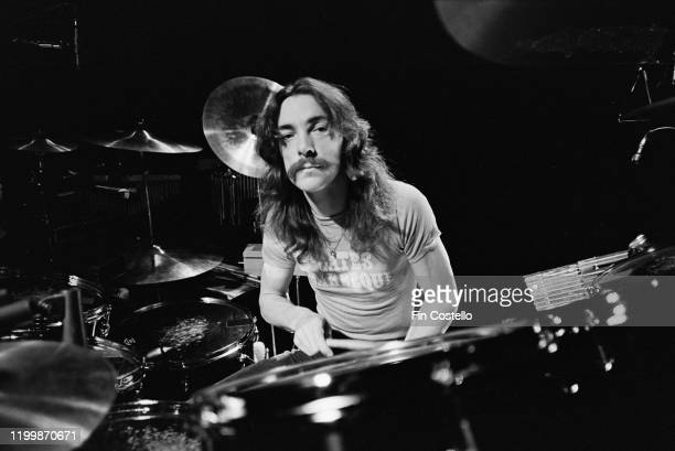 Drummer and lyricist Neil Peart of Canadian progressive rock group Rush soundchecking at Memorial Coliseum Fort Wayne Indiana 14th April 1977 The...