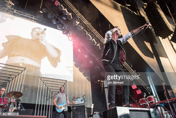 Drummer and percussionist John Wicks bass player Joseph Karnes and lead vocalist Michael Fitzpatrick of Fitz and The Tantrums perform live on stage...