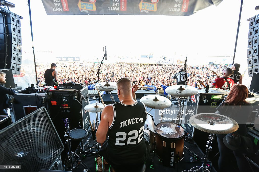 Drummer Andrew Tkaczyk of The Ghost Inside performs during the Vans Warped Tour on June 22, 2014 in Ventura, California.
