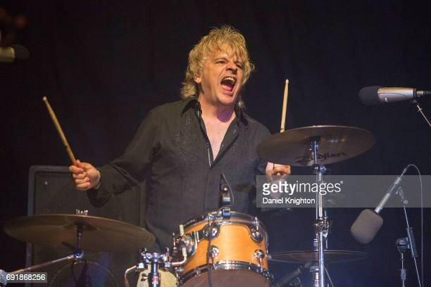 Drummer Andy Gauthier of Tommy Tutone performs on stage at Temecula Valley Balloon And Wine Festival on June 2 2017 in Temecula California
