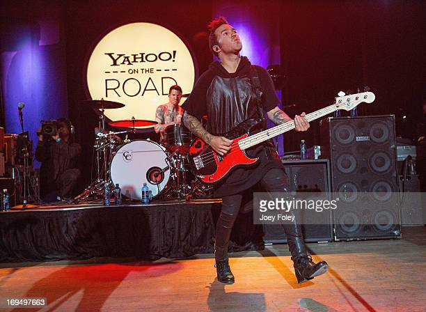 Drummer Andy Hurley and Bassist Pete Wentz of Fall Out Boy performs during Yahoo On The Road at Majestic Theatre on May 13 2013 in Madison Wisconsin