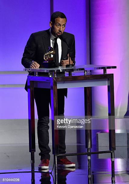 Drummer Antonio Sanchez accepts the award for Best Score Soundtrack for Visual Media for Birdman onstage during the GRAMMY PreTelecast at The 58th...