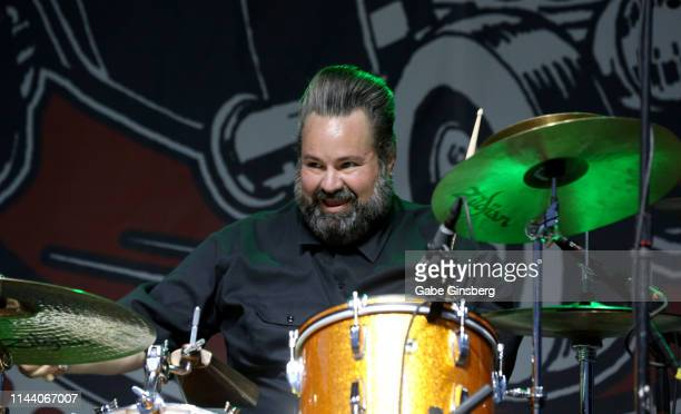 Drummer Arjuna RJ Contreras of The Reverend Horton Heat performs during the Viva Las Vegas Rockabilly Weekend's car show at the Orleans Arena on...