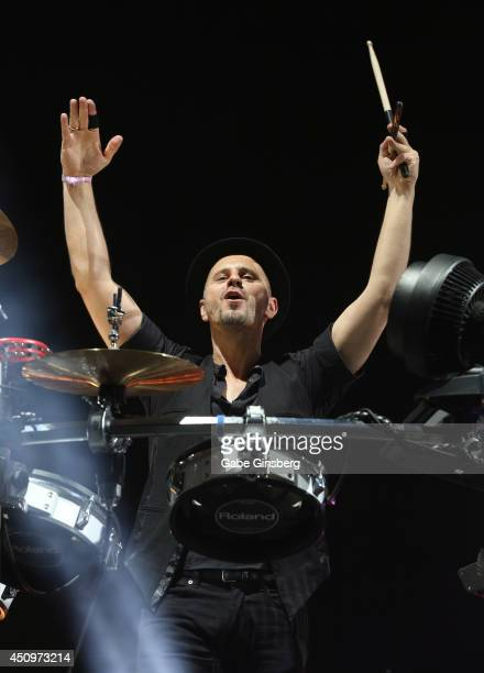 Drummer Arno Kammermeier of Booka Shade performs on the neonGarden stage during the 18th annual Electric Daisy Carnival at Las Vegas Motor Speedway...