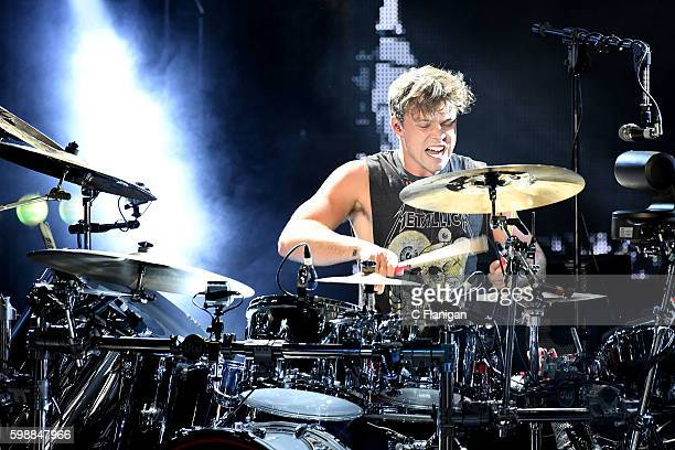 Drummer Ashton Irwin of 5 Seconds of Summer performs at Shoreline Amphitheatre on September 2 2016 in Mountain View California