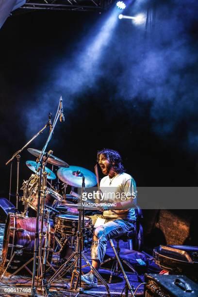 Drummer at rock concert