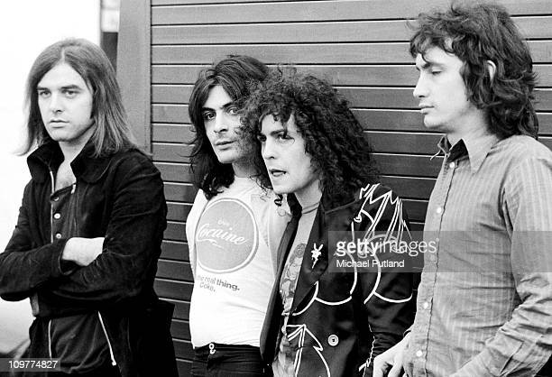 Drummer Bill Legend, percussionist Mickey Finn , singer and guitarist Marc Bolan and bassist Steve Currie of T-Rex pose circa 1971.